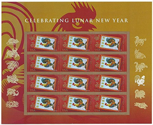 Year of the Rooster Lunar New Year 2017 Sheet 12 Forever Stamps By USPS -