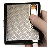 Metal Silver Cigarette Case With USB Lighter Rechargeable Windproof Electric Lighters Cigarette Accessories for Men Holds 17 cigarettes