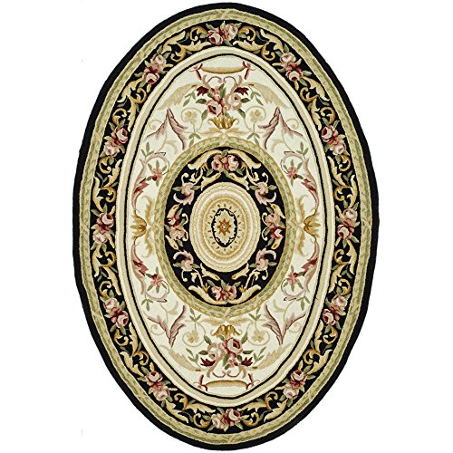 Safavieh Chelsea Collection HK72B Hand-Hooked Ivory and Black Premium Wool Oval Area Rug (4'6