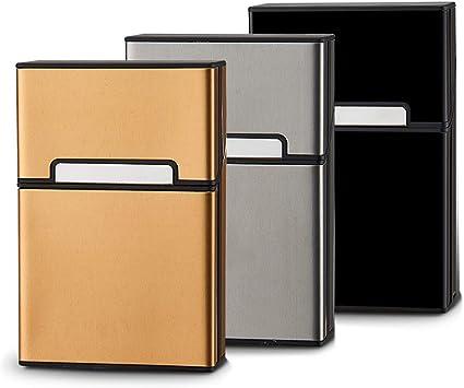 Caja Cigarrillos,Zuzer 3 PCS Caja de Cigarrillo de La Aleación de Aluminio Estuche de Cigarrillos con La Cerradura Magnétic Cigarrillos Caso: Amazon.es: Equipaje