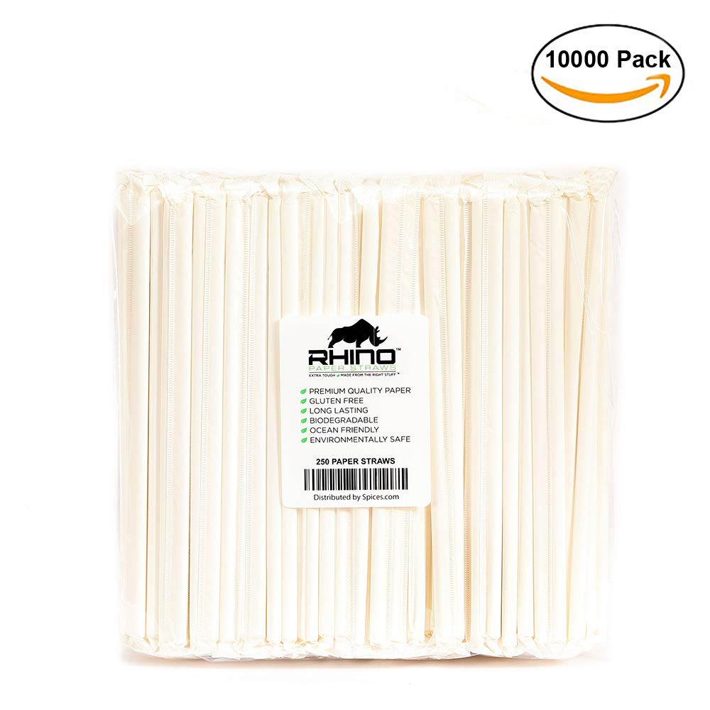 The Spice Lab Rhino White Drinking Eco-Friendly Biodegradable Paper Straws 7.75'', 6mm for Juice, Shakes, Cocktail, Tea, Soda, Milkshakes, Smoothies & Parties (Wrapped - 10000 Count)