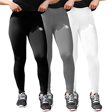 616a4d5975 Dutte Dutta Womens Leggings Fitness Yoga Pants Pack of 3, Classic Black  White Gray Size