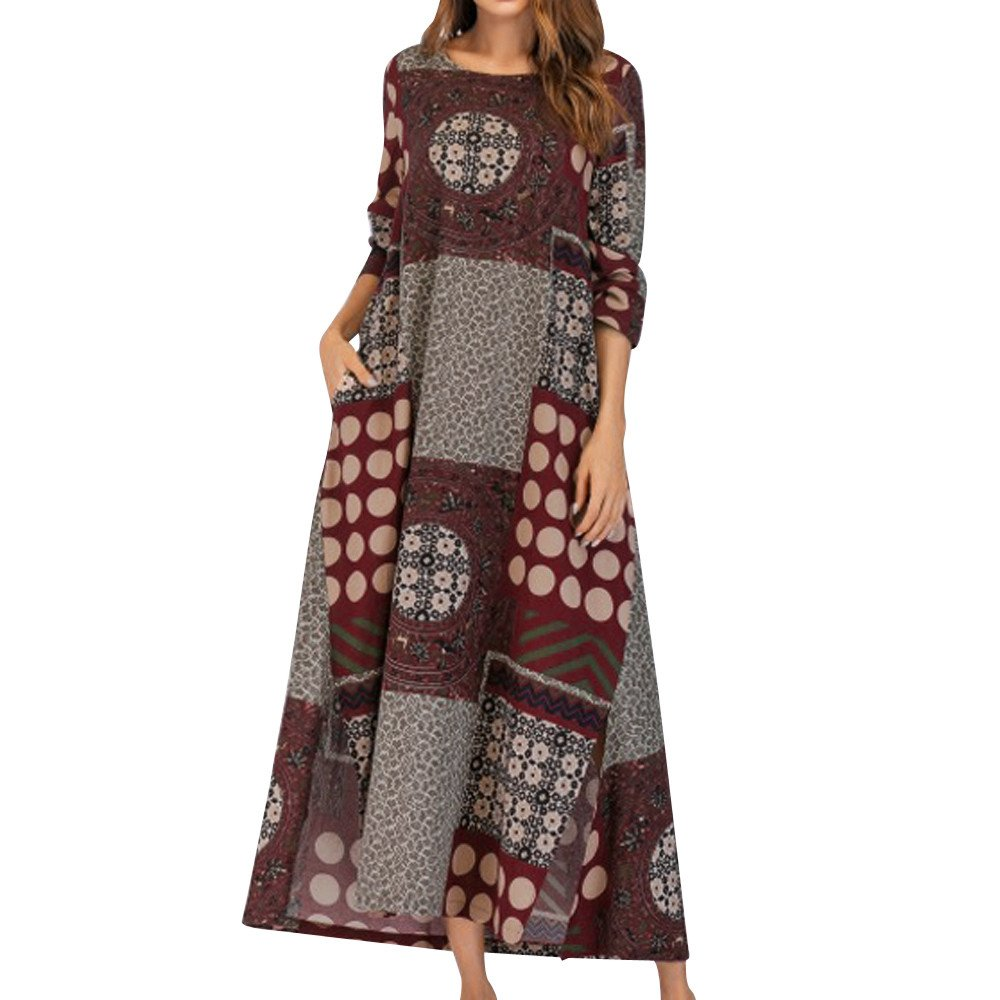 Hmlai Cotton Linen Dress, Women Summer 3/4 Sleeve Printed Loose Dress with Pocket Plus Size (Brown, XL)