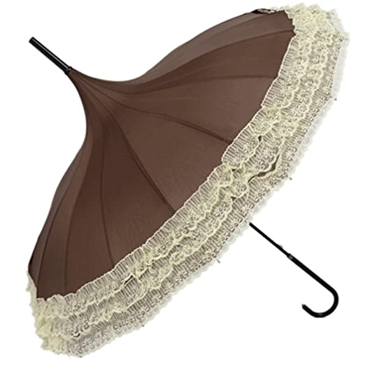 Victorian Parasols, Umbrella | Lace Parosol History  Parasol Sunproof Lace Trim with Hook Handle $19.99 AT vintagedancer.com