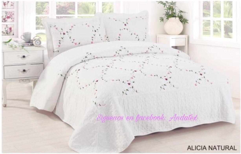Colcha Bouti Bordada Alicia Natural Blanca - Cosida y de Calidad con Fundas de Almohada 50 X 70 cm – para Todas Las Medidas (90 cm)