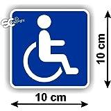 Sticker Autocollant Handicap Handicapé Carré Bleu 10x10cm