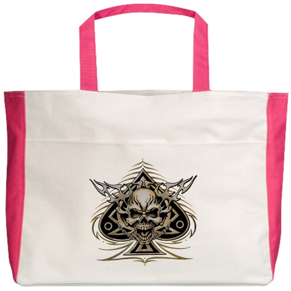 Royal Lion Beach Tote (2-Sided) Skull Spade Chains and Flames - Fuchsia