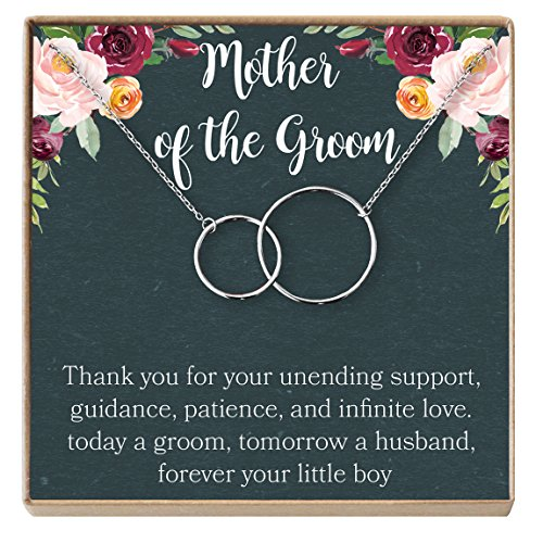Mother of The Groom Gift Necklace: Wedding Gift, Bridal Party, Rehearsal Dinner, Man of My Dreams, Parent of Groom, 2 Interlocking Circles (Silver-Plated-Brass, ()
