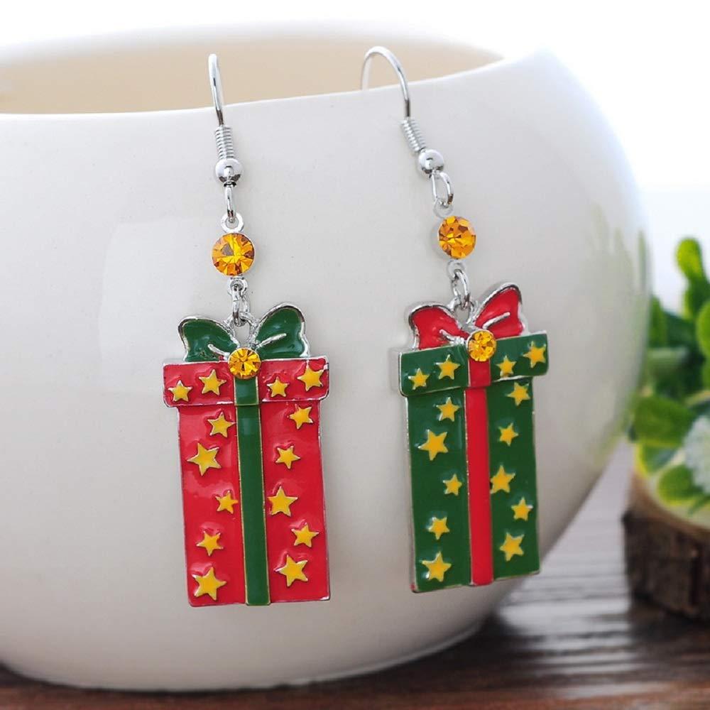 MJARTORIA Christmas Enamel Rhinestones Fish Hook Long Dangle Line Drop Party Earrings
