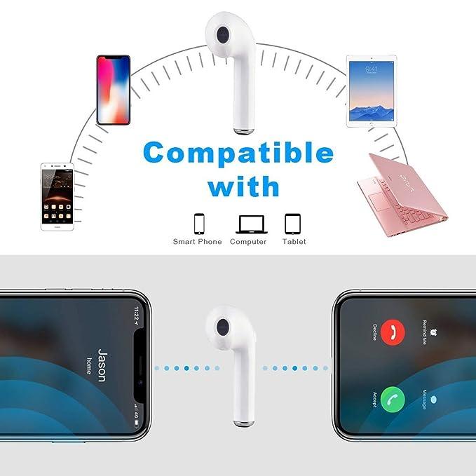 Auricular Bluetooth Mini Auricular estéreo Auricular Bluetooth In-Ear con micrófono Reducción de Ruido Auricular Deportivo Compatible con Todos los ...