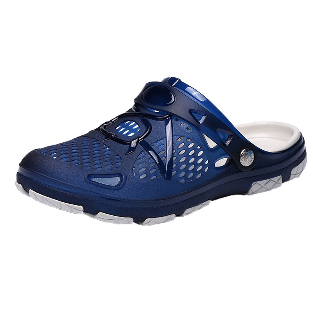 Kauneus  Men Shoes Garden Clogs Anti-Slip Beach Shower Sandals Slip on Massage Outdoor Walking Summer Slippers Blue by Kauneus Fashion Shoes