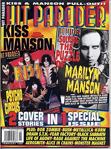 Kiss Group Poster (Hit Parader Magazine KISS Cradle of Filth MARILYN MANSON Monster Magnet KORN Metallica ALICE IN CHAINS February 1999 C)