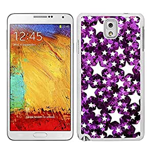 Funda carcasa TPU (Gel) para Samsung Galaxy Note 3 estampado estrellas efecto purpurina violeta borde blanco