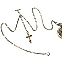 Double Albert Chain Pocket Watch, Curb Link Chain 3 Hook Antique Plating Shield Design Fob T Bar for Men with Cross