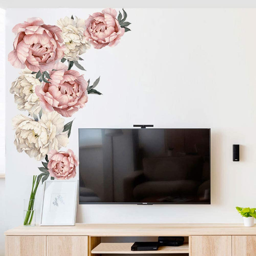 Peony Flowers Wall Decals Peel and Stick Rose Wall Sticker for Home Bedroom Nursery Room Wall Decor (Flower)