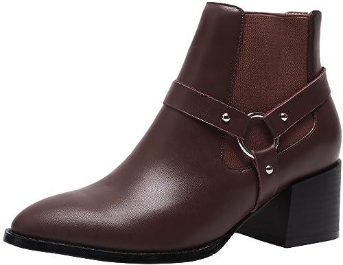 SimpleC Mujeres Chelsea Boots De Moda Cuero Suave Sin Cremallera Punta Cuadrada, Botines de Tobillo con Hebilla de Metal: Amazon.es: Zapatos y complementos
