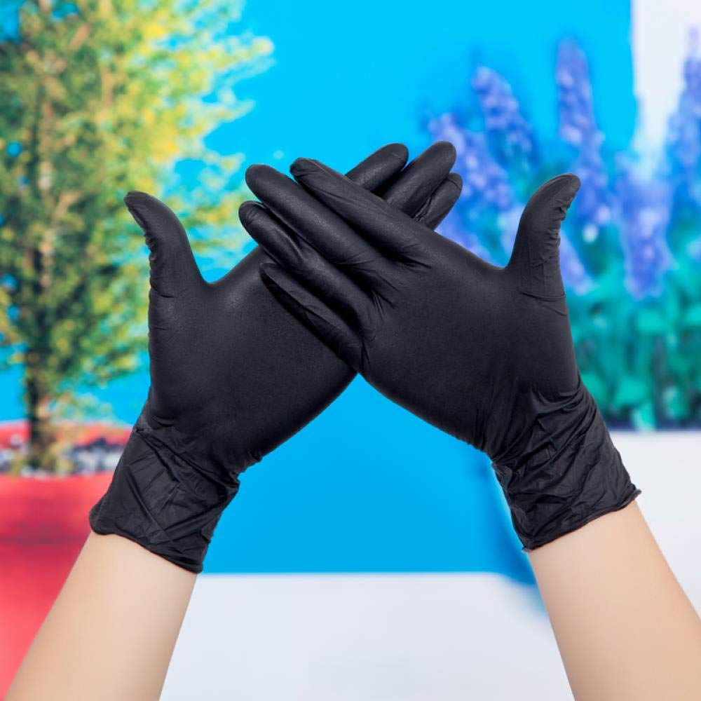 Disposable latex gloves, rubber waterproof surgical labor, food-grade durable thicker gloves, XL, 100 Black
