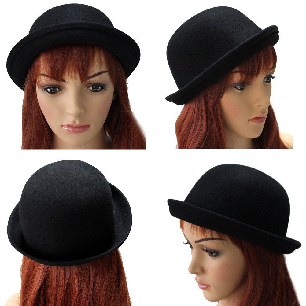 abbastanza Cappello Pura Lana Bombetta Donna 57cm Nero Classico Retro Idea  SF61