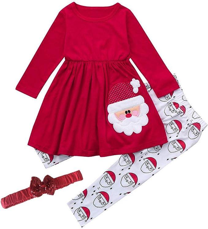 Santa Claus Legging Outfits Set Herbst Kleidung Set Kleinkid M/ädchen Weihnachten Kleid Langarmshirt