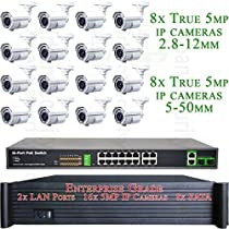 USG Enterprise Grade TRUE 5MP 16 Camera Security System PoE IP CCTV Kit: 16x 5MP IP PoE 2.8-12mm & 5-50mm Bullet Cameras + 1x 64 Channel NVR with 2x RJ45 Ports + 1x 18 Port PoE Switch * View On Phone