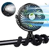 XIMU Stroller Fan, USB Rechargeable Mini Handheld Fan Clip on Fan with Flexible Tripod & LED Light, Ultra Quiet Portable Pers