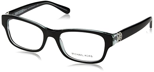 michael kors ravenna womens mk 8001 3001 black on blue crystal plastic rectangle eyeglasses 51 mm - Mk Glasses Frames