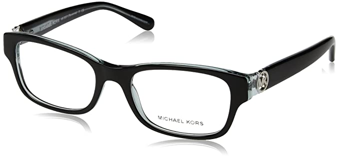 bbb8bd2150 Michael Kors Ravenna Women s MK 8001 3001 Black On Blue Crystal Plastic  Rectangle Eyeglasses 53 mm