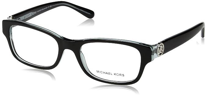 e79ac769792dd9 Michael Kors Ravenna Women s MK 8001 3001 Black On Blue Crystal Plastic  Rectangle Eyeglasses 51 mm