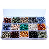 800pcs 6mm Natural & Synthetic Round Stone Beads Gemstone Beading Loose Gemstone Hole Size 1mm DIY Smooth Beads for Bracelet