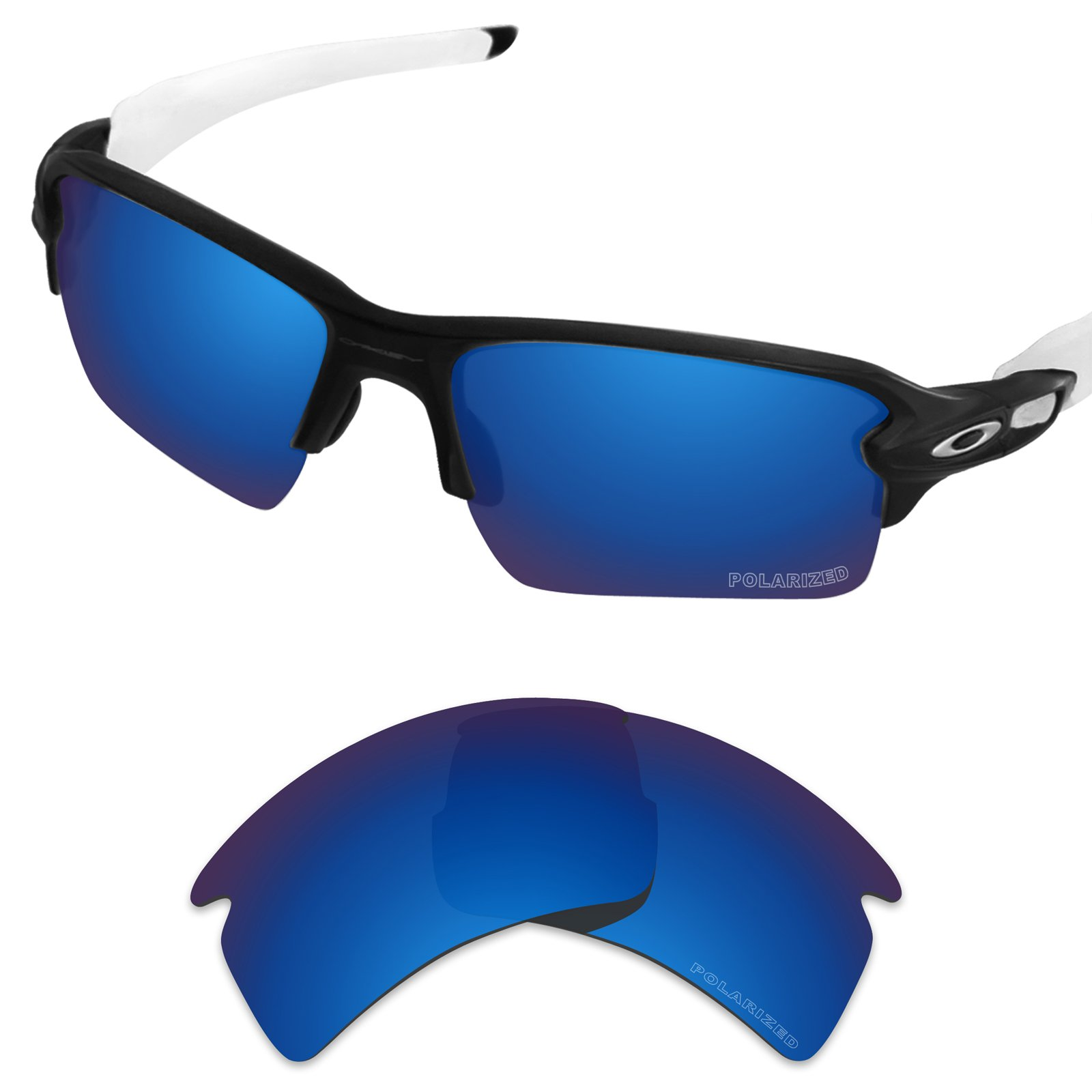 Tintart Performance Replacement Lenses for Oakley Flak 2.0 XL Sunglass Polarized Etched-Sapphire Blue