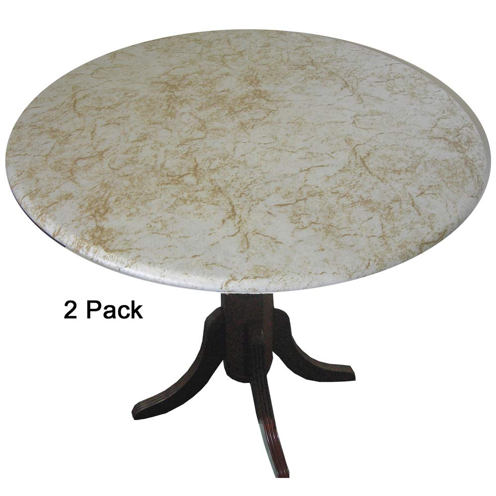 GoMarble 2 Pack2 Golden Alabaster Top Fitted Vinyl tablecloths (tablecovers, Table Covers) for Indoor/Outdoor use - Made in America by GoMarble