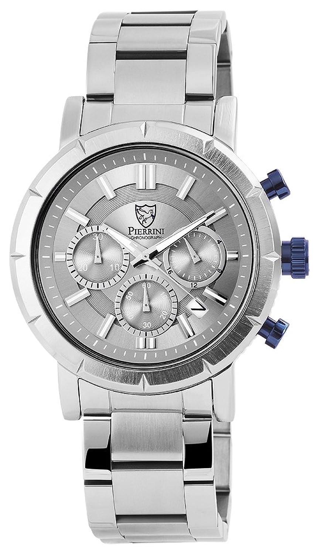 Pierrini Herren Armbanduhr Edelstahlband Chronograph Quarz Silberfarbig 291021600004