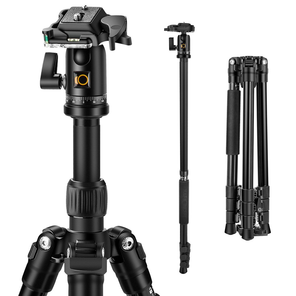 K&F Concept Professional Camera Tripod Monpod Aluminum Alloy 61.2'' Compact Lightweight Travel Tripod with Ball Head and 26.46lbs(12kg) Load Capacity for Canon Nikon Sony DSLR Camera, Black