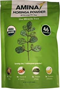 Amina USDA Organic Moringa Tree Dried Leaf Powder, 8 oz Pouch (2)