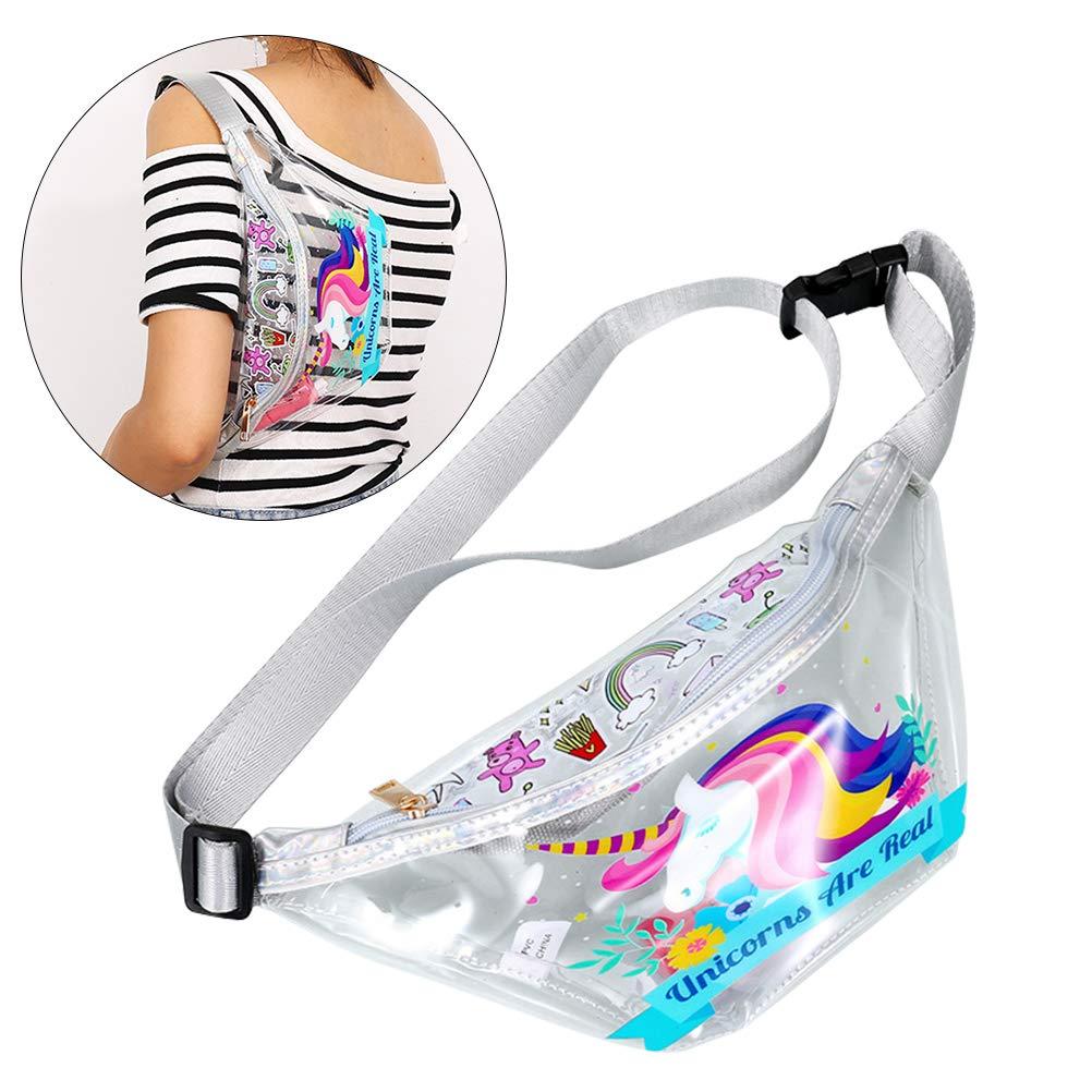Transparent PVC Womens Bag Sports Running Multifunctional Chest Bag Fashion Outdoor Bag Unicorn