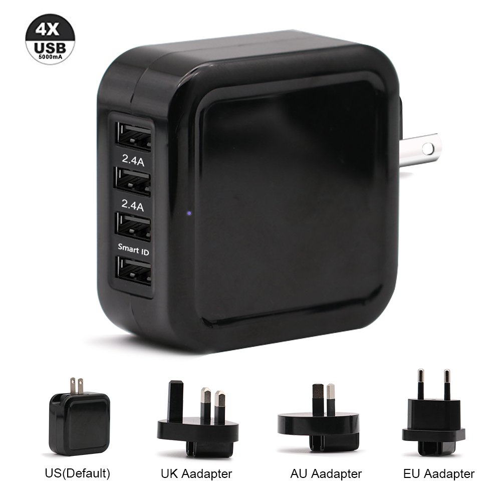 TJ8 25W USB Travel Power Adapter,Portable 5A 4-Port Universal Wall Charger with US UK EU AUS Plug/SmartID Technology for iPhone,iPad,Samsung Galaxy,Nexus,Tablets and Android Smartphone (black)