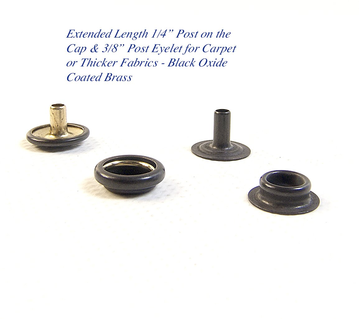 Snap Fastener Extended Length Cap has a 1/4'' Post/Eyelet has a 3/8'' Post - Black Oxide Coated Brass - Select the Quantity That You Need (20 Piece Set)