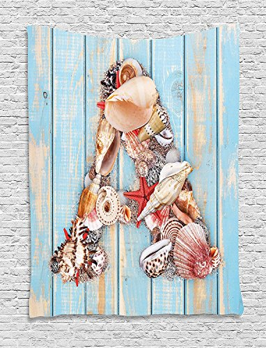 XHFITCLtd Letter A Tapestry, Letter A with Seashells on Pale Wooden Board Invertebrates Animal, Wall Hanging for Bedroom Living Room Dorm, 60 W X 80 L Inches, Pale Blue Ivory Dark Coral by XHFITCLtd