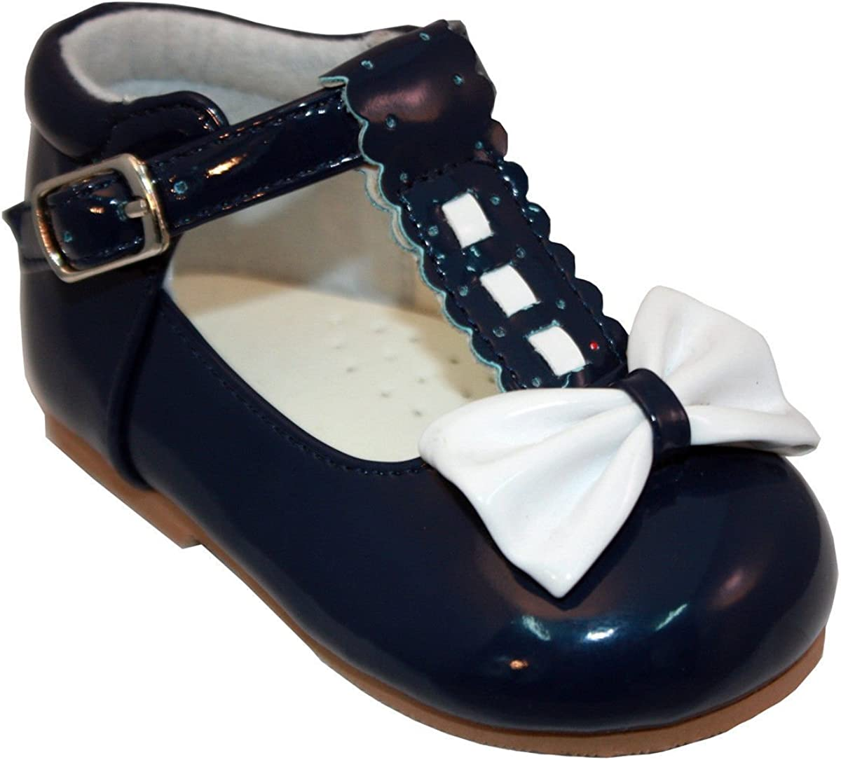 Baby Girls T Bar Spanish Bow Walking Shoes
