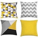 Kit 4 capas triângulos cinza e amarelo 40x40