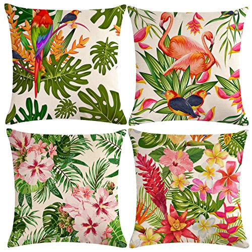 ULOVE LOVE YOURSELF 4pack Tropical Throw Pillow Covers Tropical Leaves&Flowers with Parrot Flamingo Bird Pattern Home Decorative Cushion Covers 18