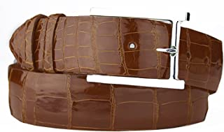 product image for Handmade Cognac Alligator Belt Strap with Sterling Silver Belt Buckle