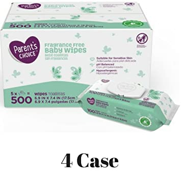 Parents Choice Fragrance Free Baby Wipes, 500 Count (5 Packs of 100) (