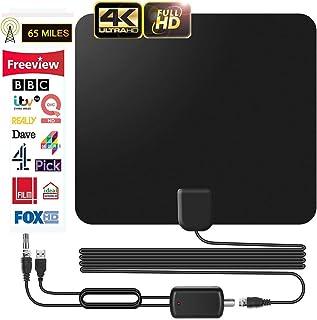 Antenne TV Intérieur Puissante, Obestar 2019 Version Amplifiée 65+ Miles Range Antenne TNT Intérieur avec Signal Amplificateur Booster et 16.5FT Câble Coaxial, Soutien Smart TV HD 4K 1080P VHF UHF