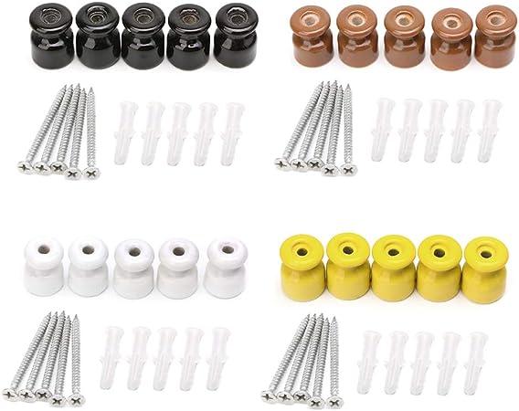 - Brun 5 pcs isolateur en c/éramique Noyau//Gourde en Porcelaine Haute fr/équence 1 Bouchon en Vrac + 1 Bouchon /à vis YoungerY