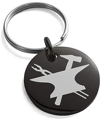 Tioneer Stainless Steel Hephaestus Greek God Of Blacksmith Fire Symbol Small Medallion Circle Charm Keychain Keyring