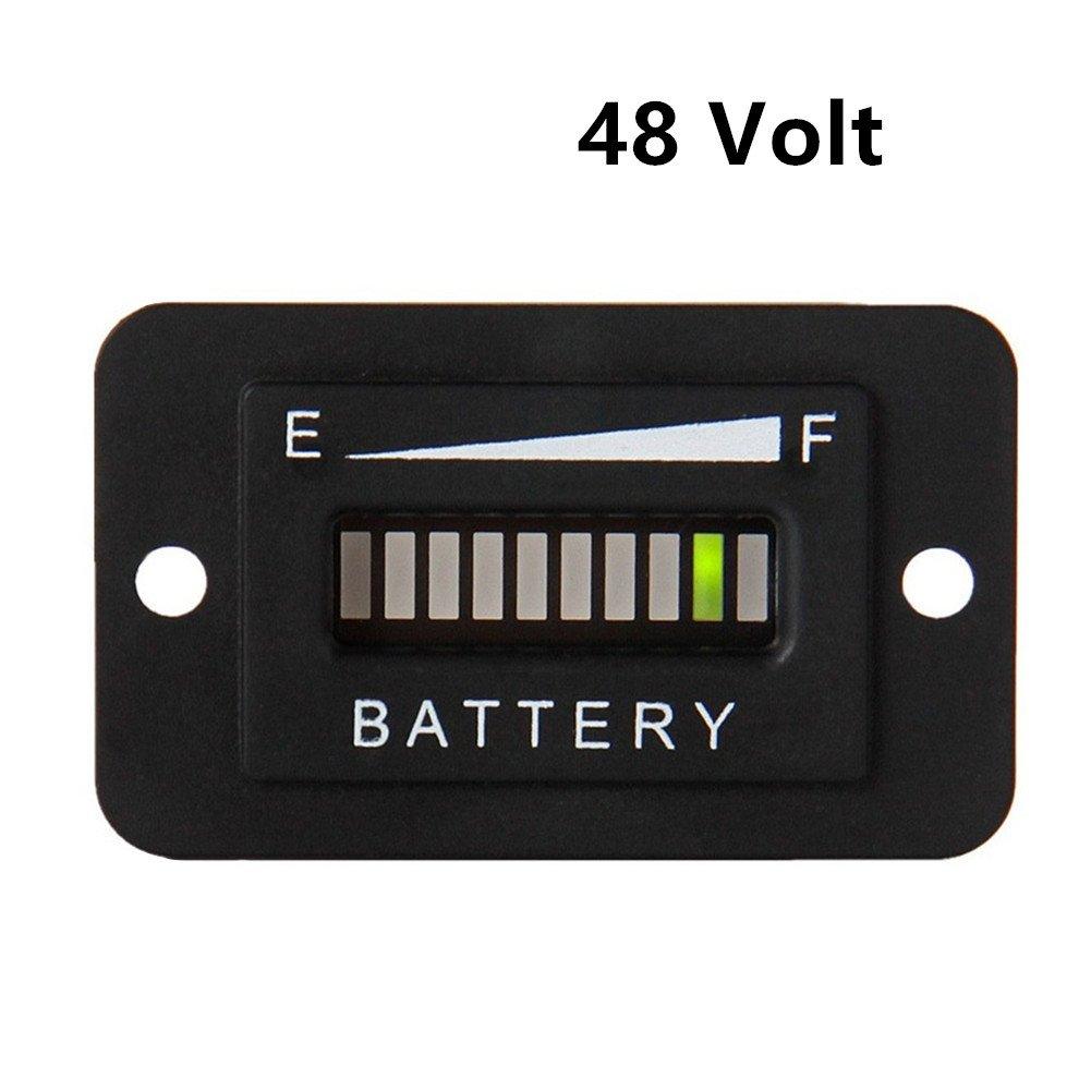 AIMILAR LED Battery Indicator Meter - Battery Charge Discharge Tester Gauge for Lead-acid Battery Motorcycle Golf Cart Car Jet Ski (48V)