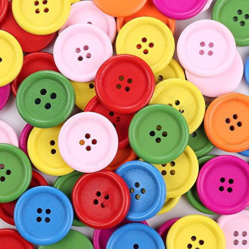 Crystallove 4 Holes Mixed Color Environmental Buttons 30mm in Bulk for Sewing Fasteners Scrapbooking and DIY Craft (1.2
