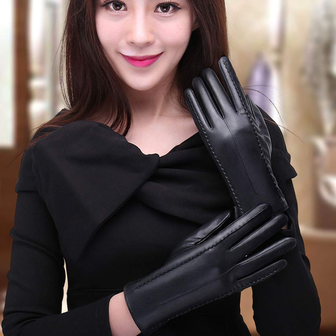 AIEOE Women Gloves Touch Screen Fingers PU Leather Gloves Wram Wind Resistant Gloves Winter Gloves