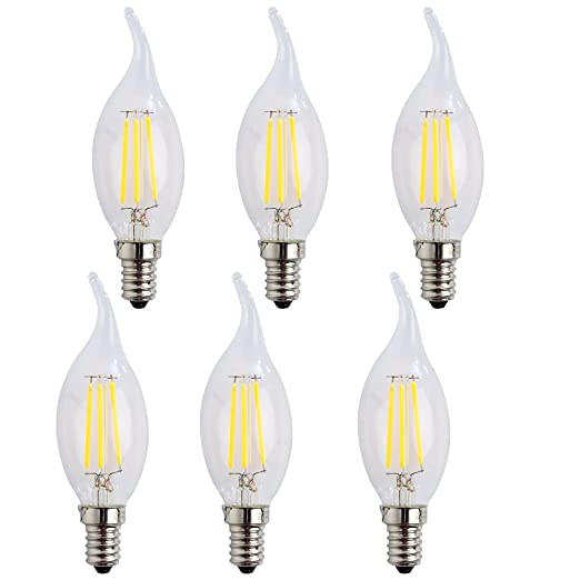 wulun01 E14 LED vela bombillas de filamento 4 W, blanco fresco (6500 K) candelabro E14 SES ...